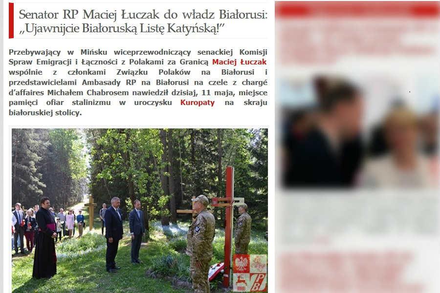 Senator Łuczak gani Łukaszenkę