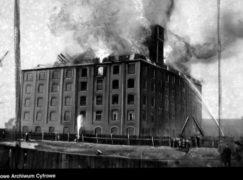 Przedwojenne Pabianice: Wielki pożar młyna. Ogień strawił 4-piętrowy budynek