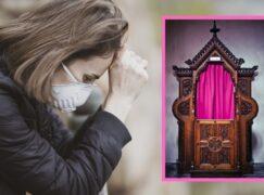 Dezynfekcja konfesjonałów, spowiedź najlepiej na zewnątrz